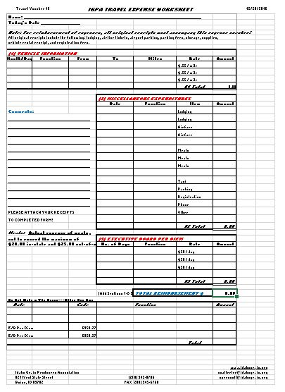 travel and expense form